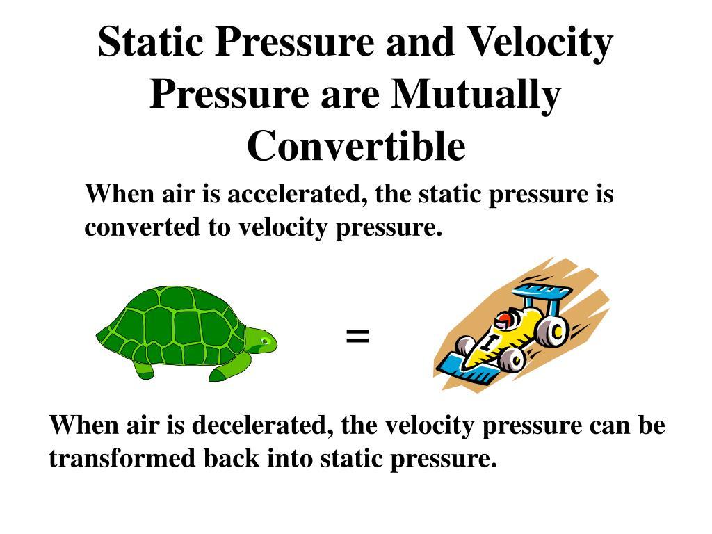 Static Pressure and Velocity Pressure are Mutually Convertible