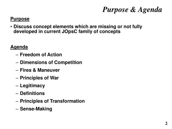 Purpose agenda