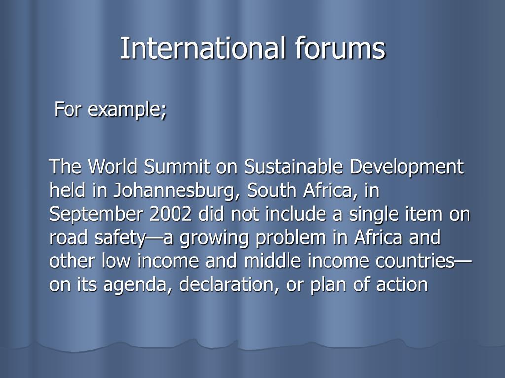 International forums