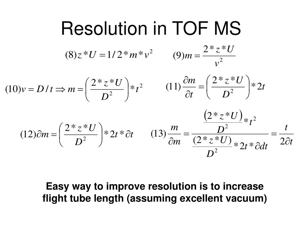 Resolution in TOF MS