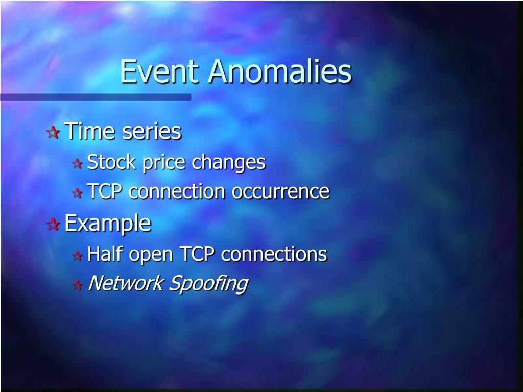 Event Anomalies