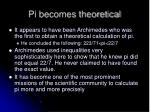 pi becomes theoretical