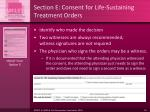 section e consent for life sustaining treatment orders