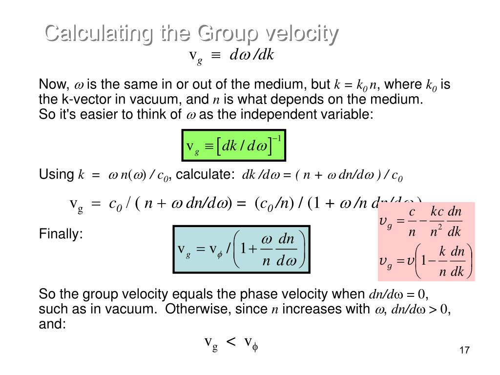 Calculating the Group velocity