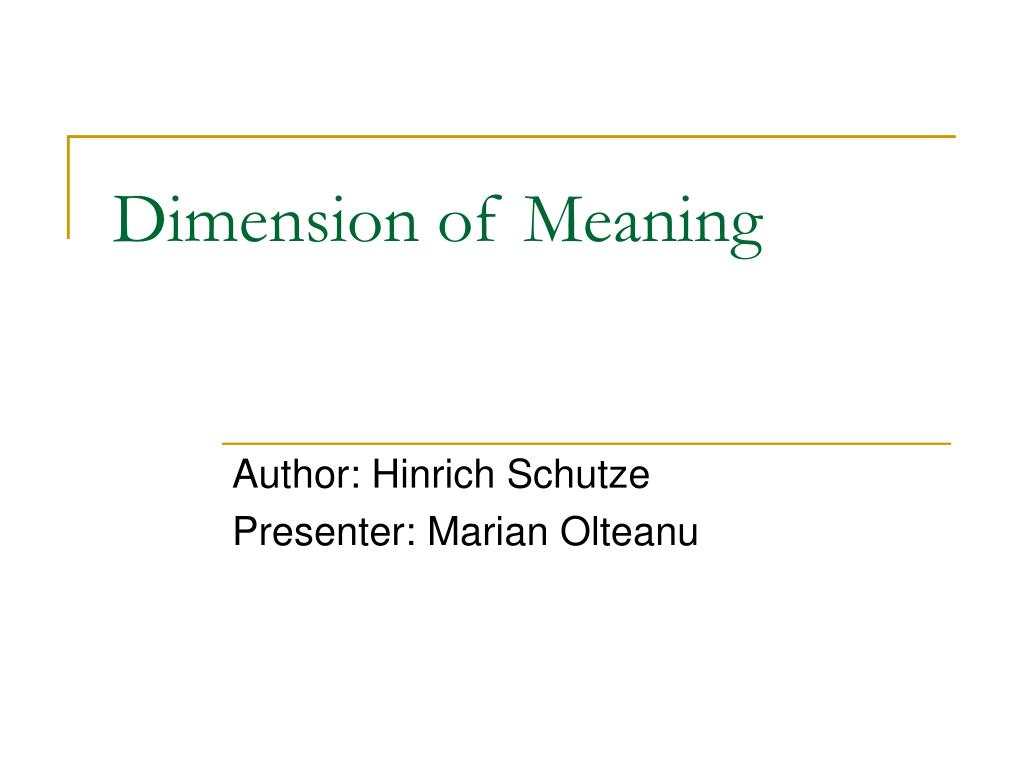 Dimension of Meaning