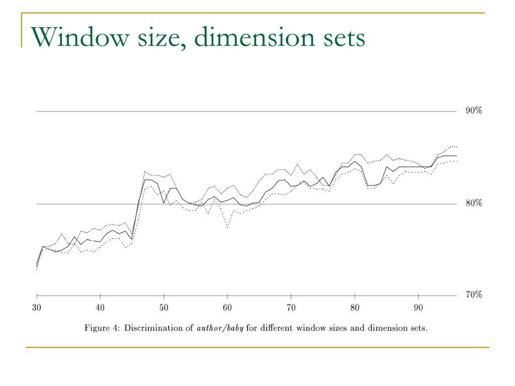 Window size, dimension sets
