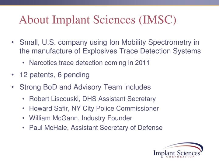 About implant sciences imsc