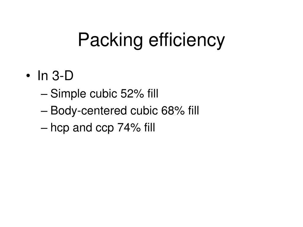 Packing efficiency