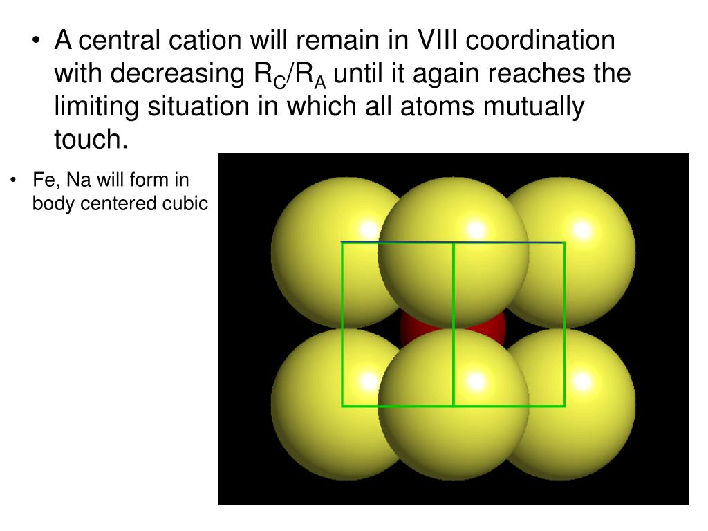 A central cation will remain in VIII coordination with decreasing R