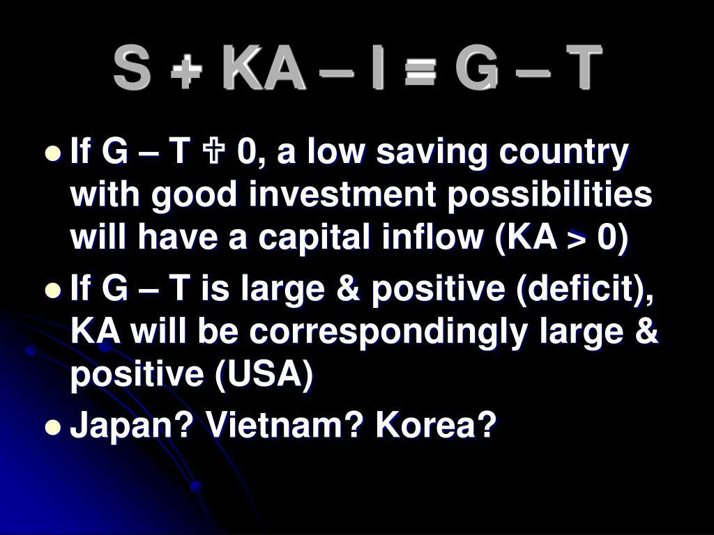 S + KA – I = G – T