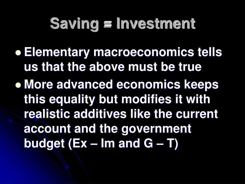 Saving = Investment