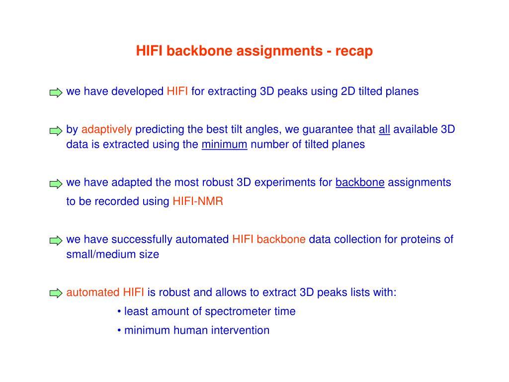 HIFI backbone assignments - recap