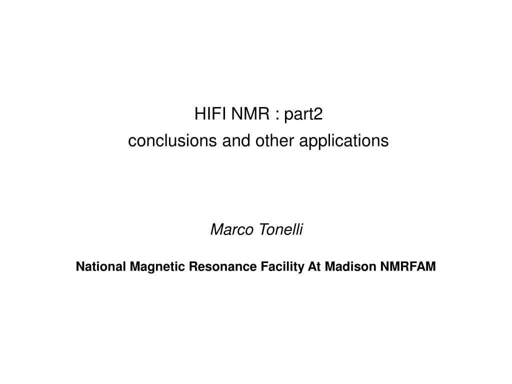 HIFI NMR : part2