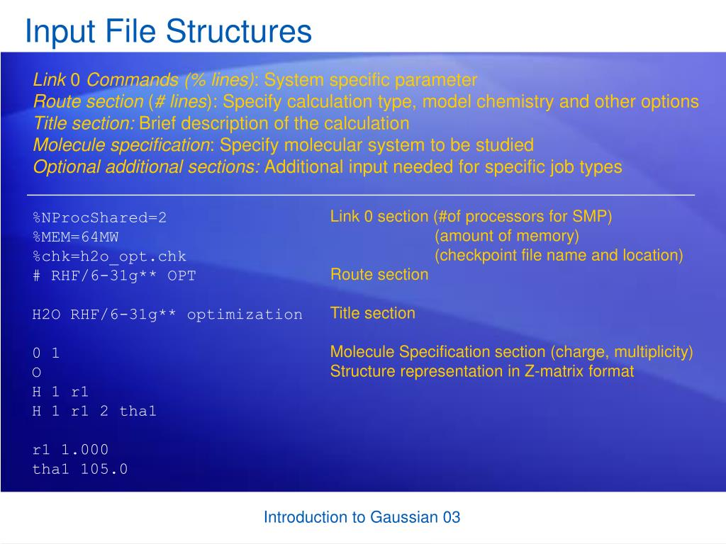 Input File Structures
