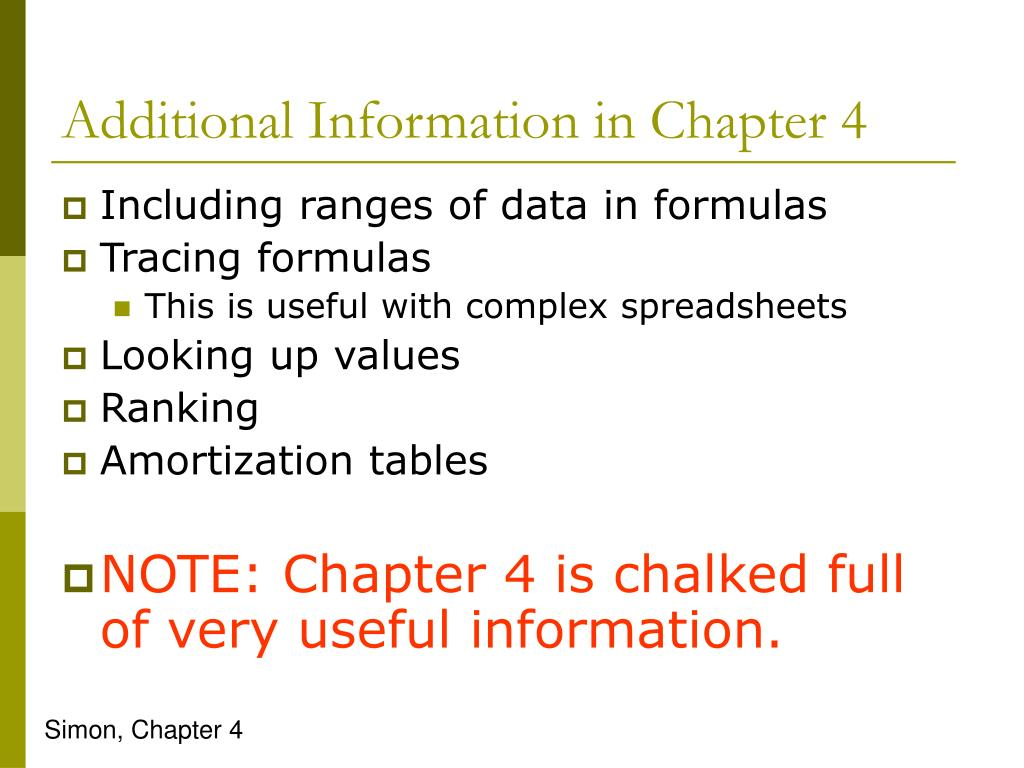 Additional Information in Chapter 4