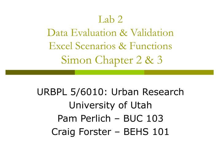 Lab 2 data evaluation validation excel scenarios functions simon chapter 2 3