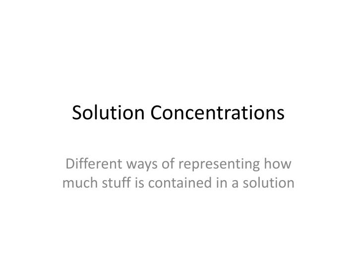 solution concentrations n.