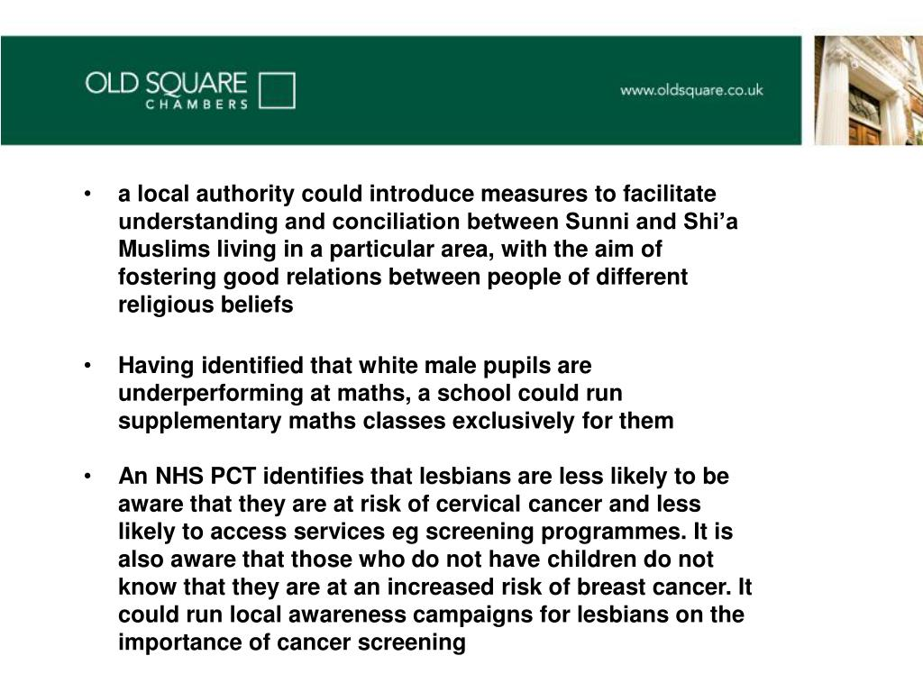 a local authority could introduce measures to facilitate understanding and conciliation between Sunni and Shi'a Muslims living in a particular area, with the aim of fostering good relations between people of different religious beliefs