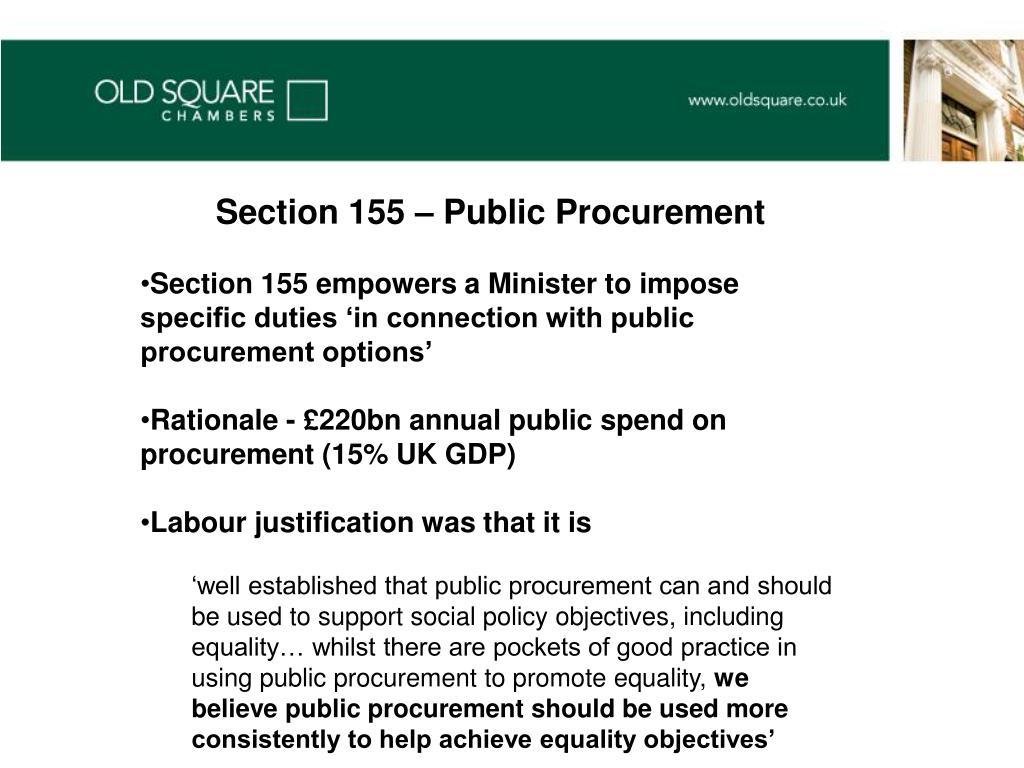 Section 155 – Public Procurement