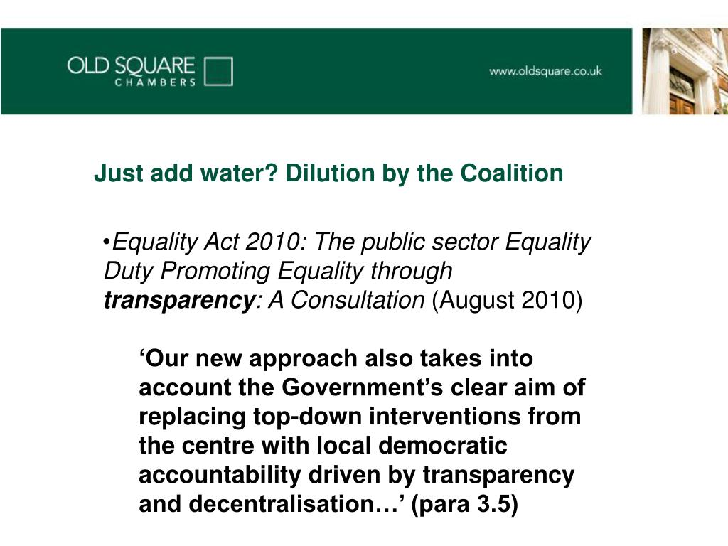 Just add water? Dilution by the Coalition