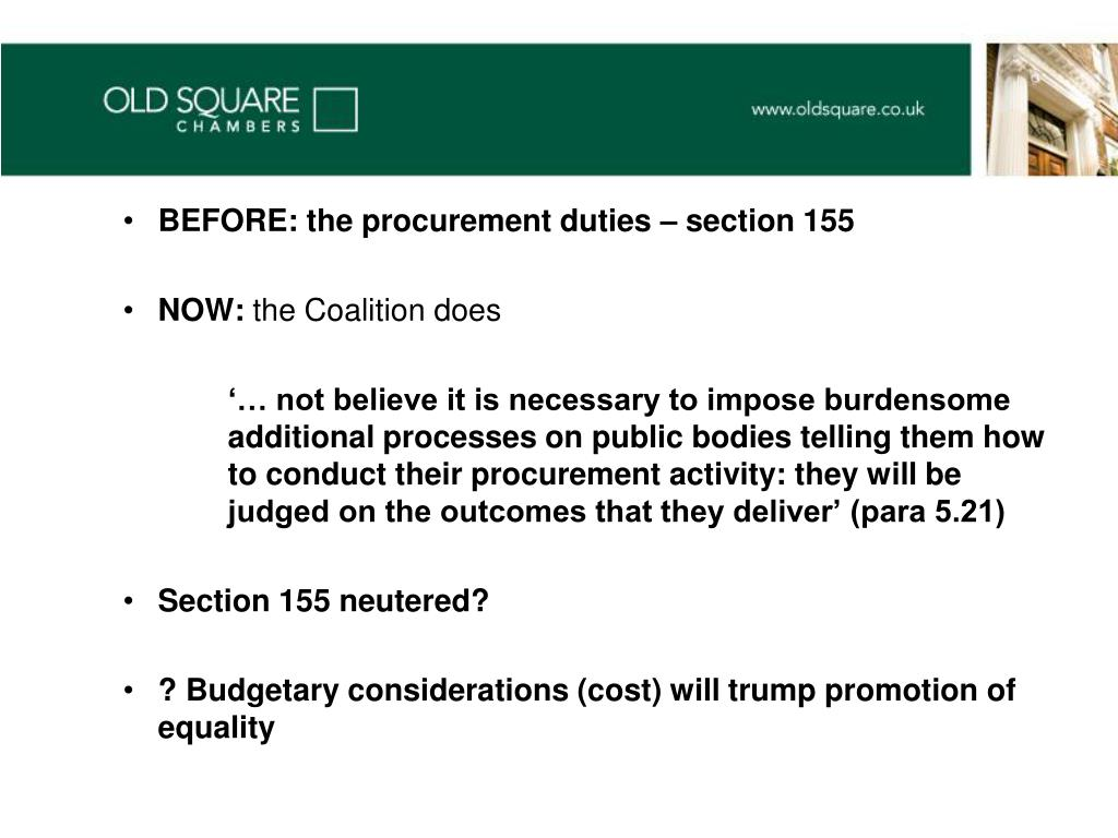 BEFORE: the procurement duties – section 155