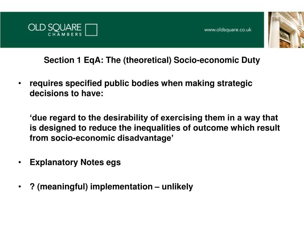 Section 1 EqA: The (theoretical) Socio-economic Duty
