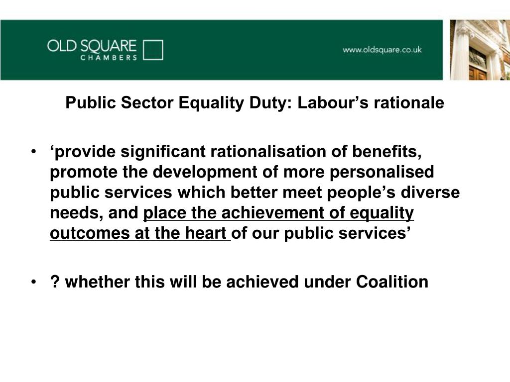 Public Sector Equality Duty: Labour's rationale