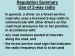 regulation summary use of 2 way radio