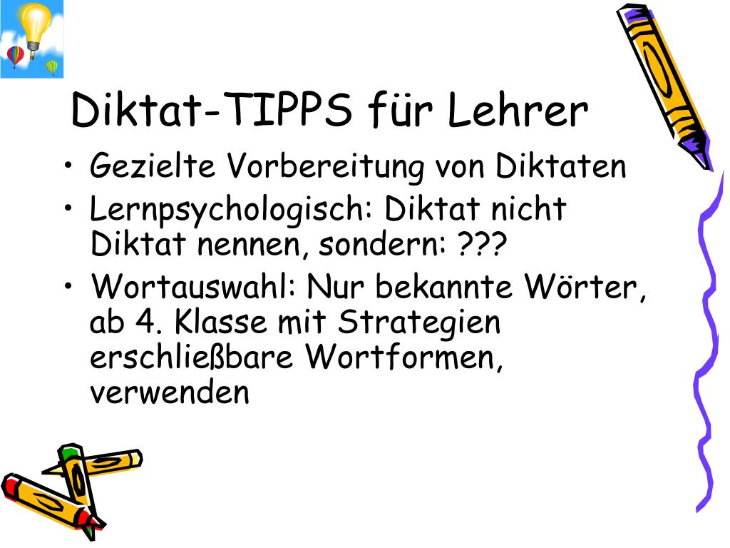 Diktat-TIPPS für Lehrer