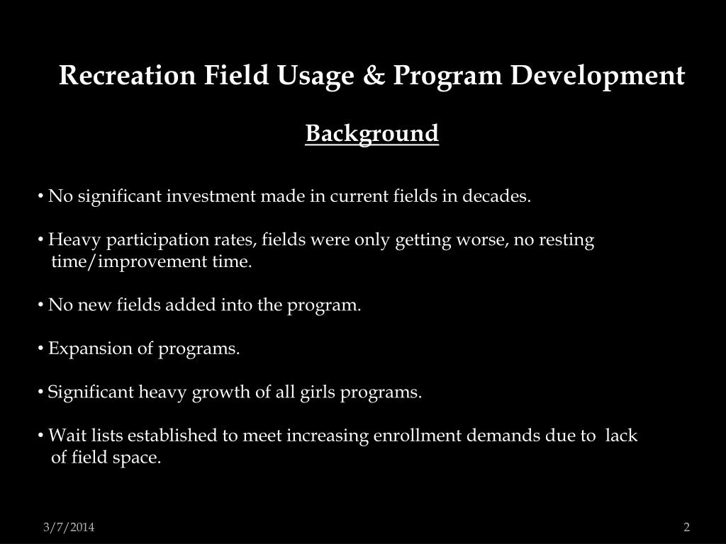 Recreation Field Usage & Program Development