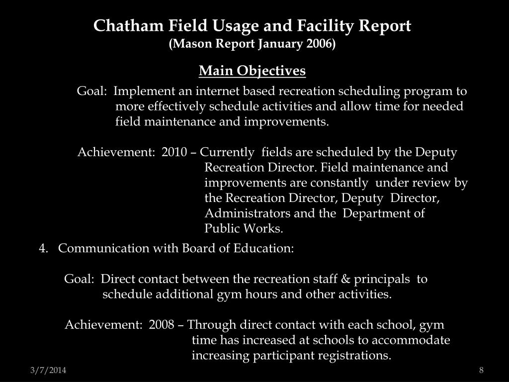 Chatham Field Usage and Facility Report