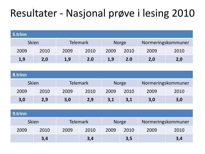 Resultater nasjonal pr ve i lesing 2010
