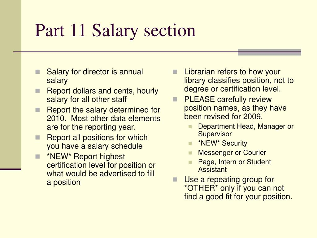 Salary for director is annual salary
