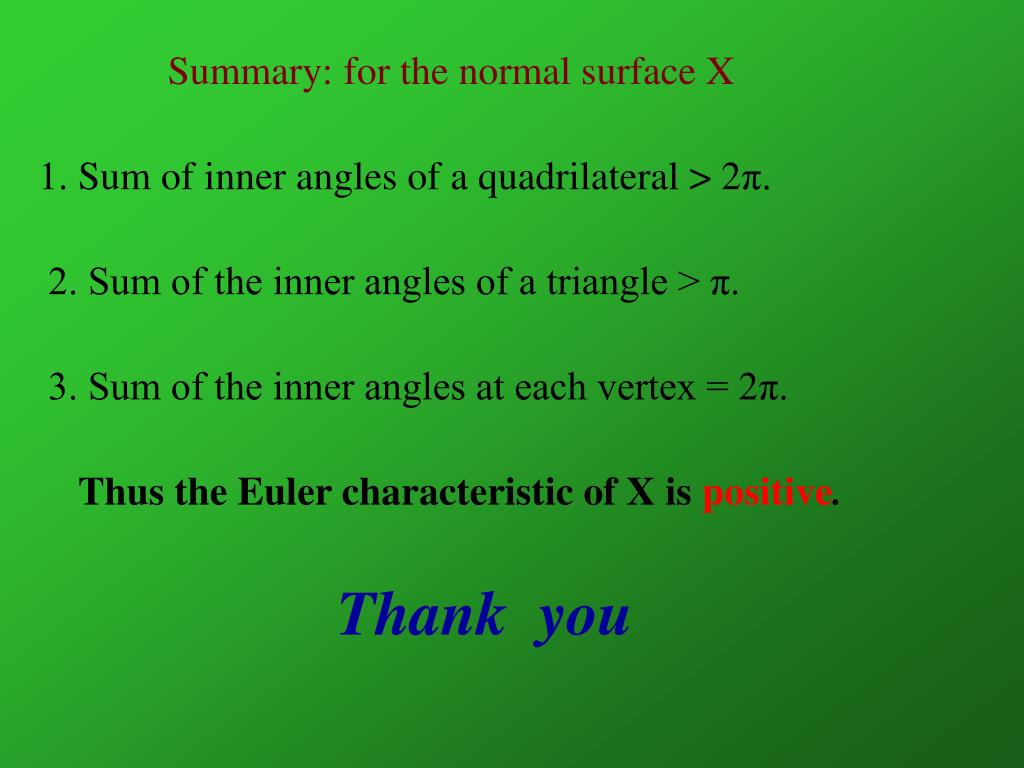 Summary: for the normal surface X