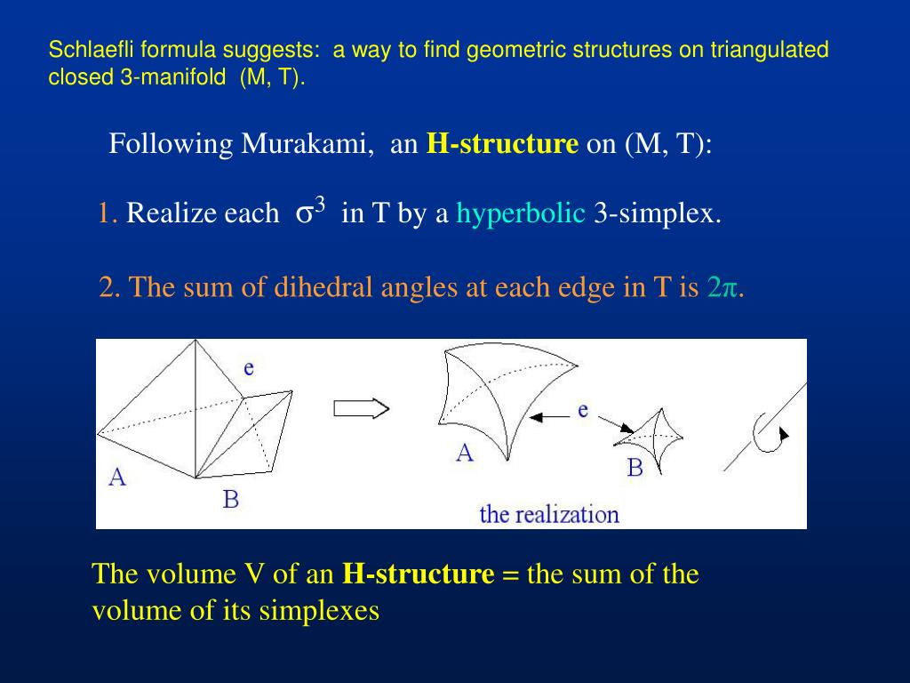 Schlaefli formula suggests:  a way to find geometric structures on triangulated closed 3-manifold  (M, T).
