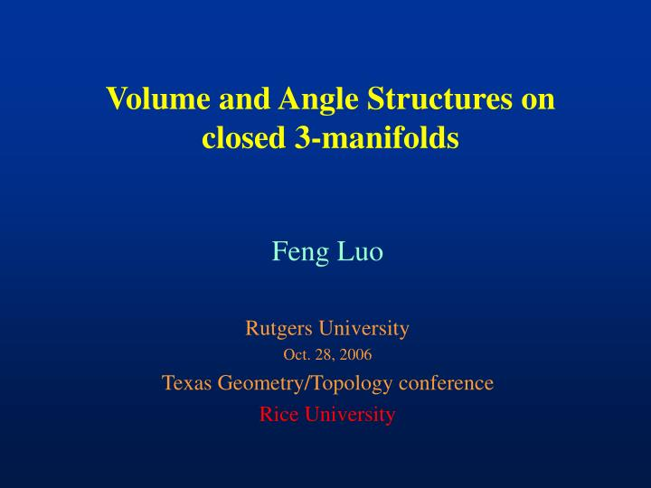 Volume and angle structures on closed 3 manifolds
