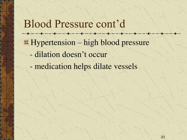 Blood Pressure cont'd