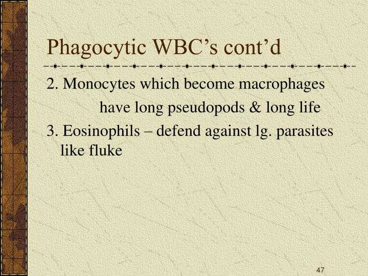 Phagocytic WBC's cont'd