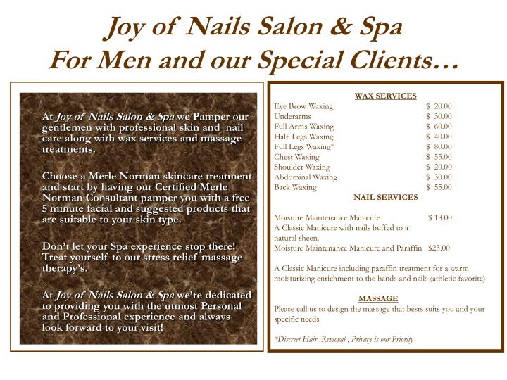 PPT - Joy of Nails Salon & Spa Manicures Pedicures Face & Body ...