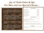 joy of nails salon spa for men and our special clients