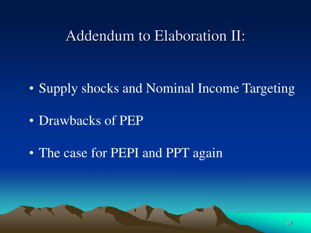 Addendum to Elaboration II: