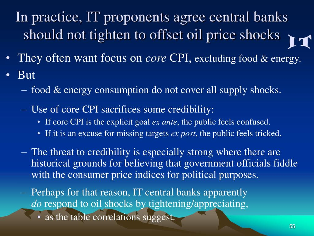 In practice, IT proponents agree central banks should not tighten to offset oil price shocks