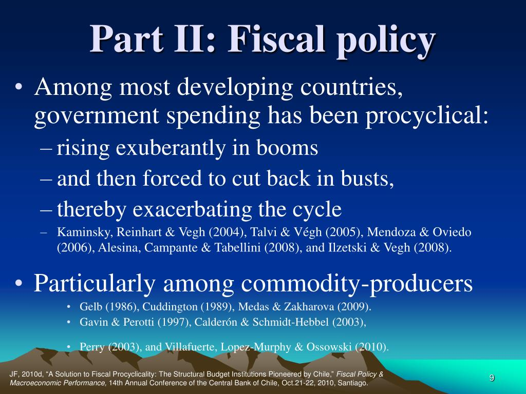 Part II: Fiscal policy