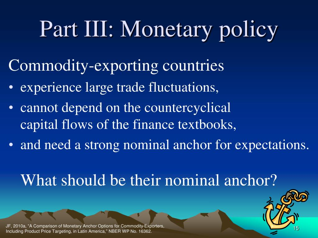 Part III: Monetary policy