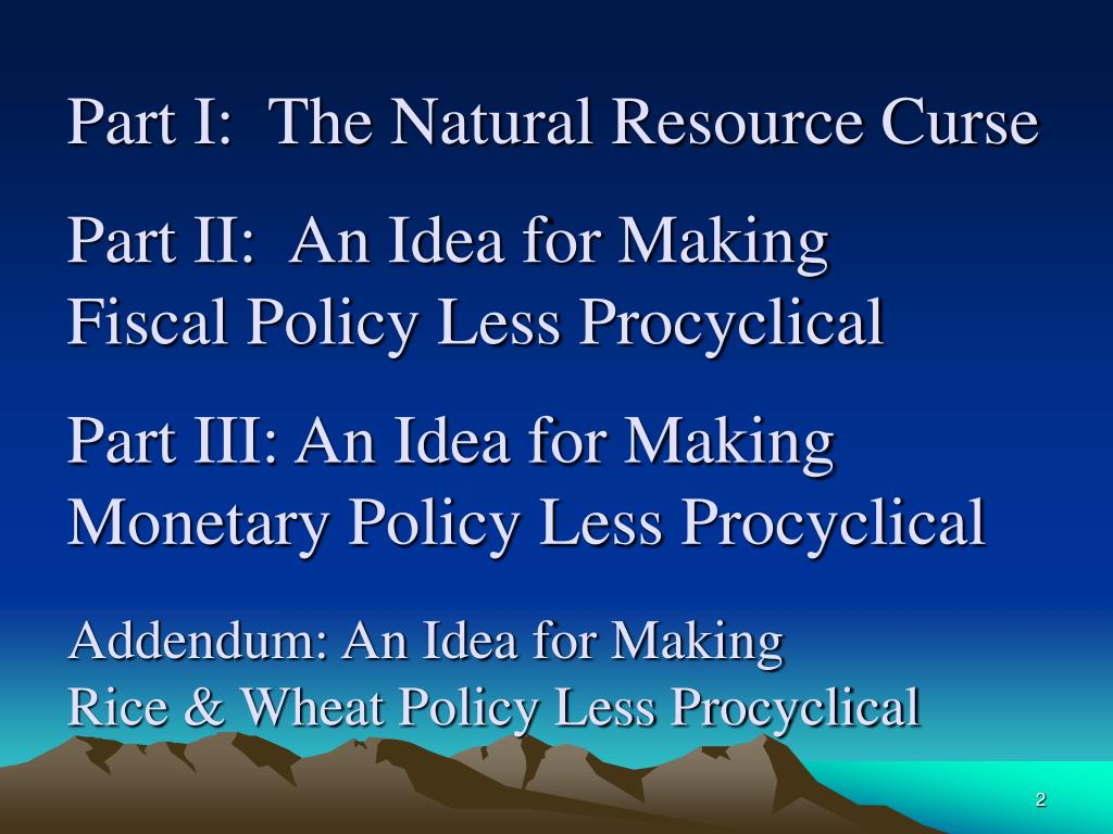 Part I:  The Natural Resource Curse