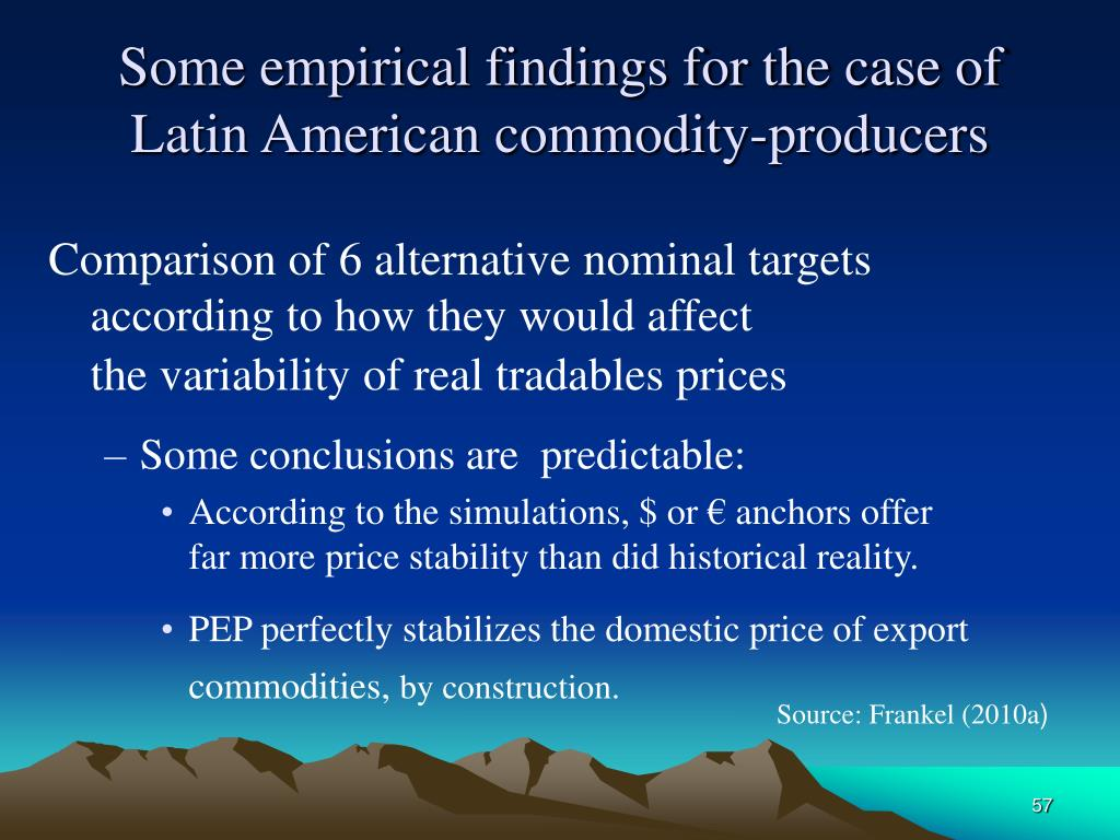 Some empirical findings for the case of