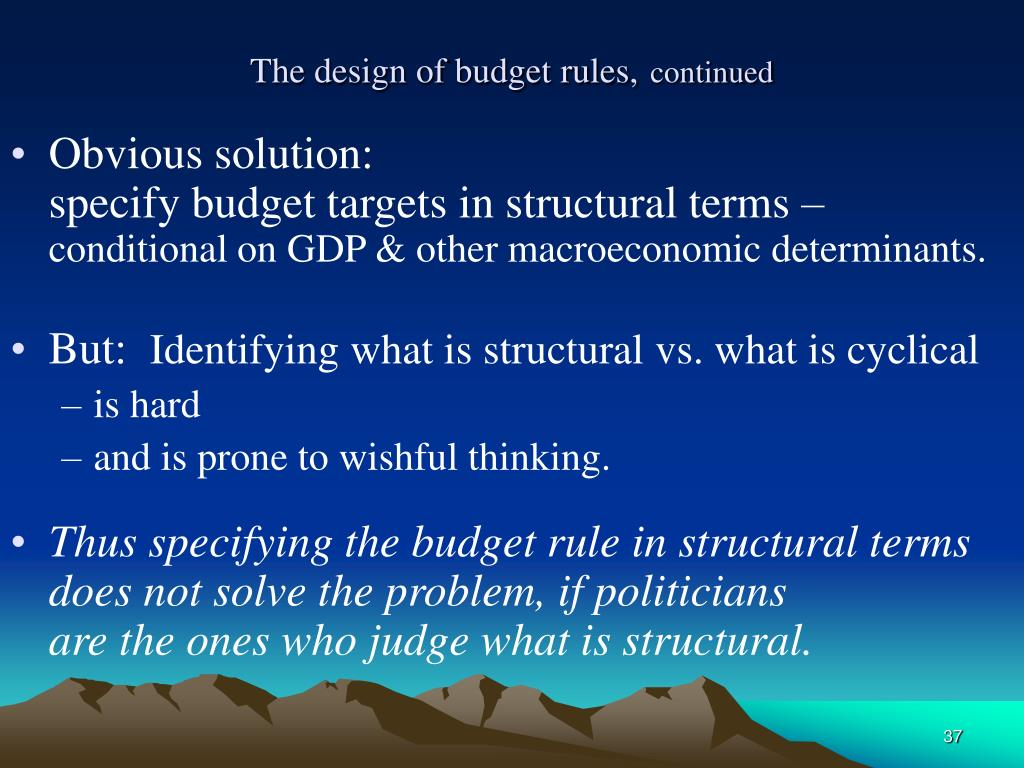 The design of budget rules,