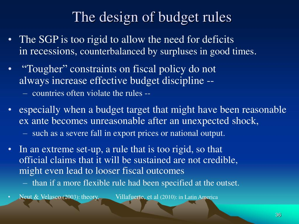 The design of budget rules