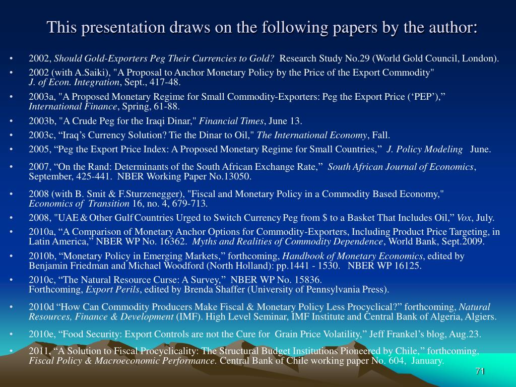 This presentation draws on the following papers by the author