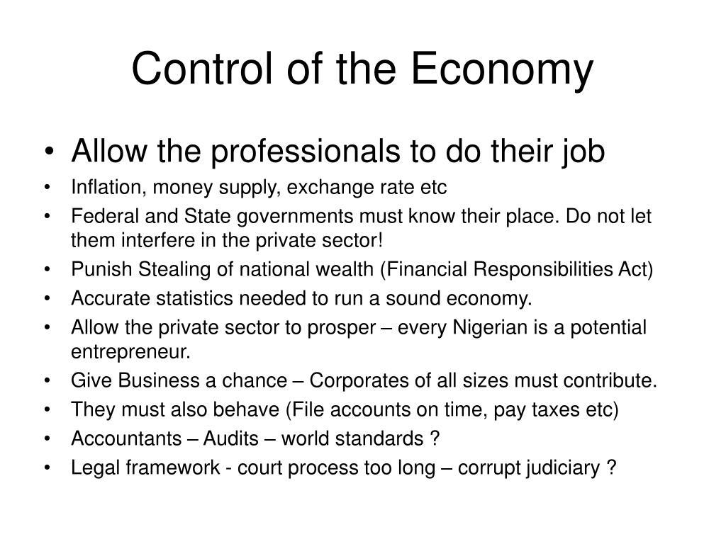 Control of the Economy